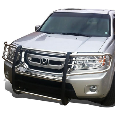 Chrome Mild Steel Front Bumper Grill Protection Guard For Honda 09-15 Pilot 3.5L-Exterior-BuildFastCar