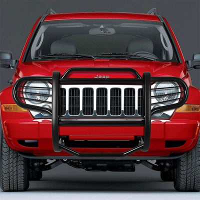 Black Mild Steel Front Bumper Brush Grill Protection Guard For 02-07 Liberty KJ-Exterior-BuildFastCar