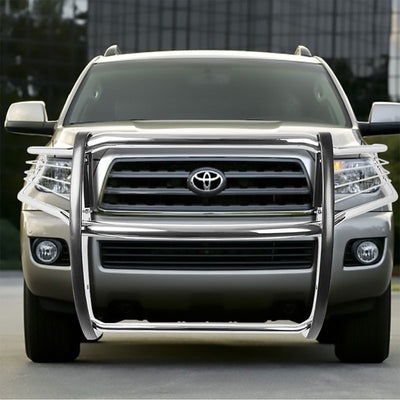 Chrome Mild Steel Front Bumper Grill Protection Guard For Toyota 08-16 Sequoia-Exterior-BuildFastCar
