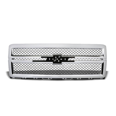 Chrome Diamond Mesh Style Replacement Grille For Chevrolet 14-15 Silverado 1500-Exterior-BuildFastCar