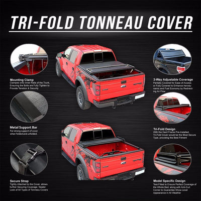 Black Soft Top Tri-Fold Tonneau Trunk Cover For 04-13 Silverado/Sierra 5.8' Bed-Exterior-BuildFastCar