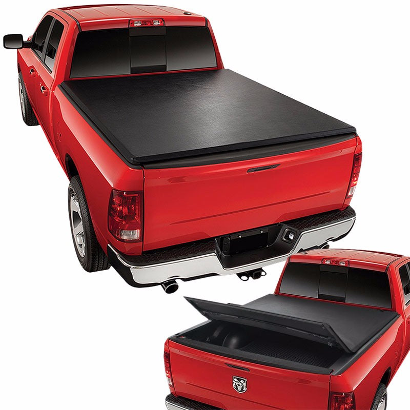 Black Soft Top Tri-Fold Tonneau Trunk Cover For 99-16 F-250/F-350 SD 6.5' Bed-Exterior-BuildFastCar