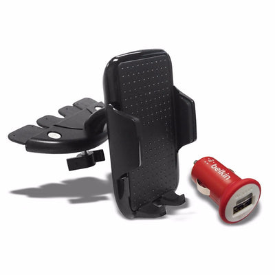 Black Universal CD Slot Tray Car/SUV/Truck 360 Mount Holder For Mobile/Phone+Belkin 2.1AMP Charger-Accessories-BuildFastCar