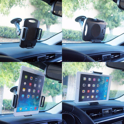 Black Universal Car Adjustable Windshield Suction Cup 360 Long Tablet Mount Holder-Accessories-BuildFastCar