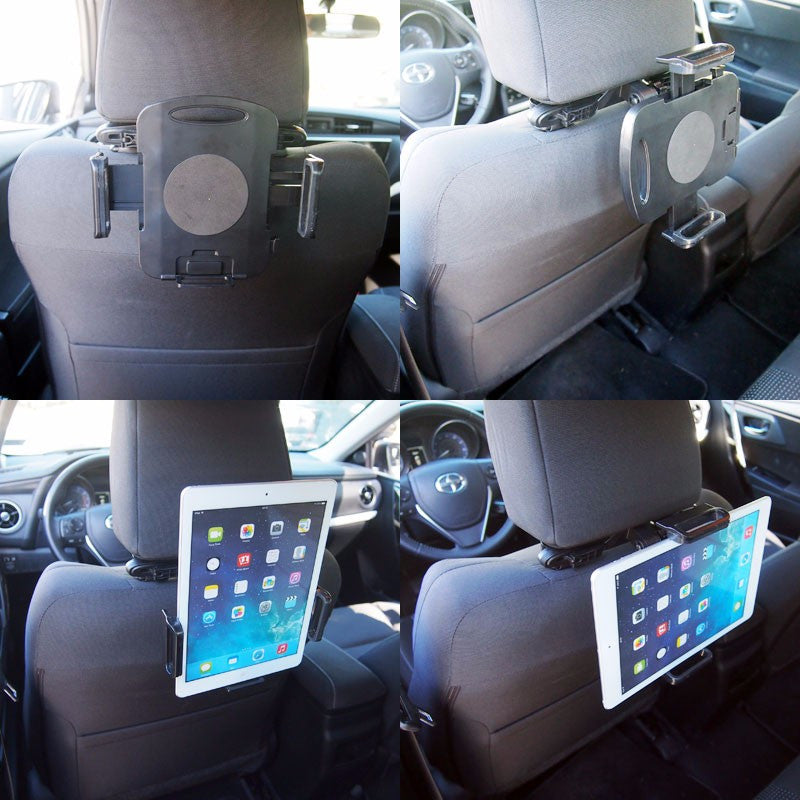 Black Universal Fit Car/SUV Rear Back Seat Headrest 360 Tablet Mount Holder Cradle-Accessories-BuildFastCar