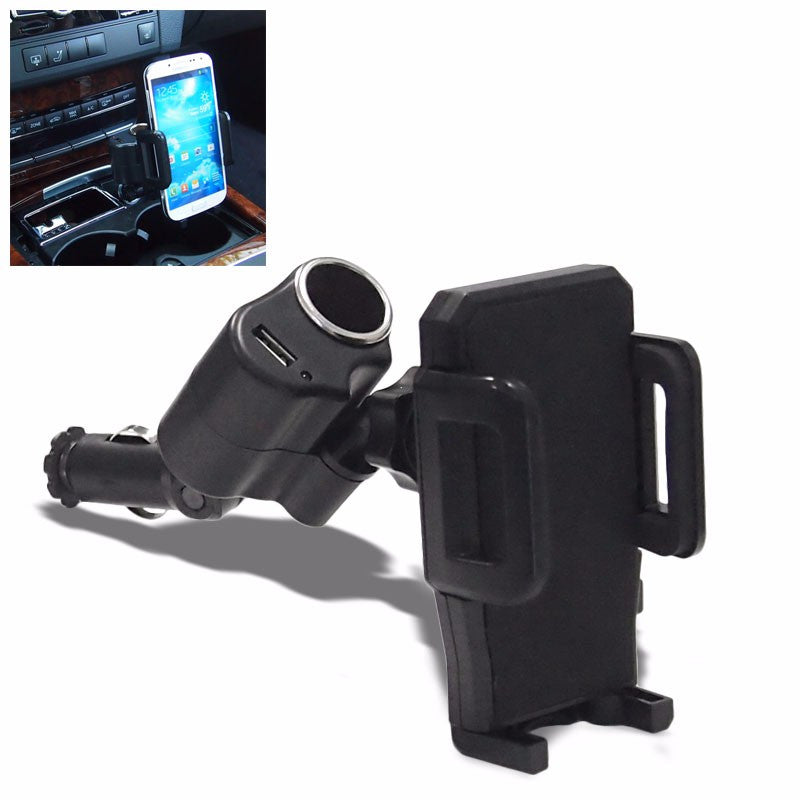 Black Universal Fit Car/SUV Cigarette Outlet Mount Holder Cradle+USB Port For Mobile Phone-Accessories-BuildFastCar
