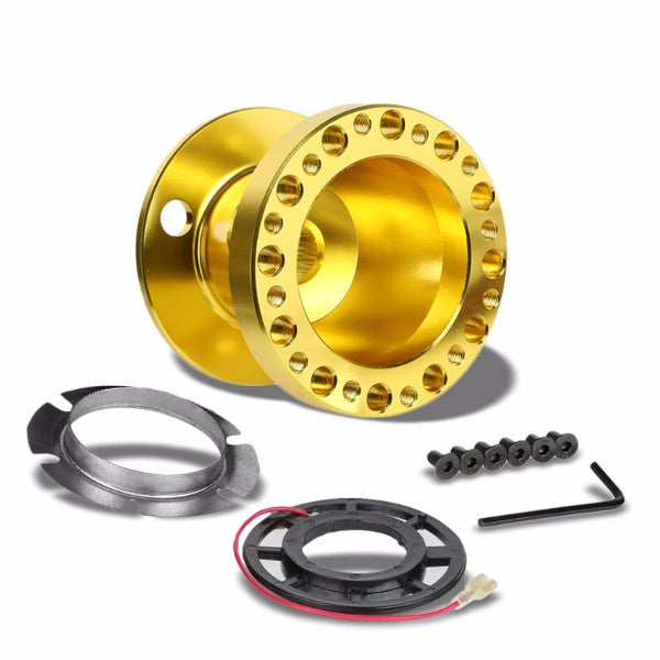 Gold Aluminum 6-Hole Steering Wheel Hub Adapter For Nissan 240SX/300ZX/Sentra/Altima-Interior-BuildFastCar