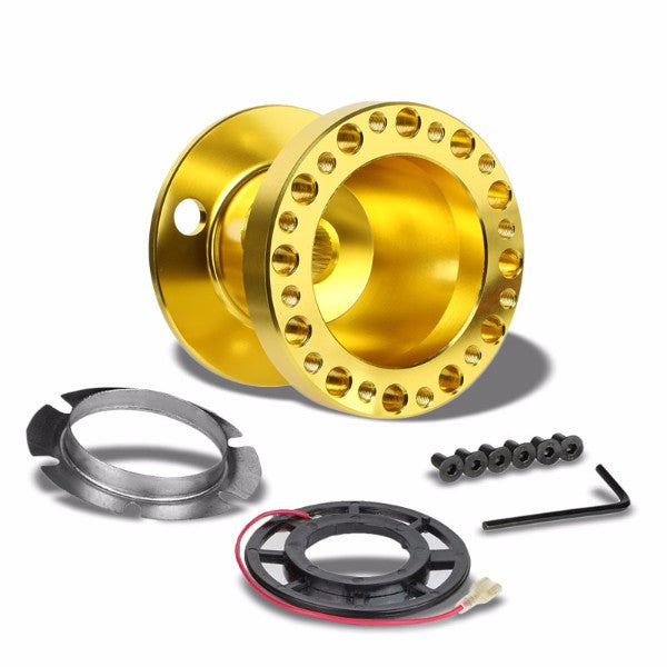 Gold Aluminum 6-Hole Steering Wheel Hub Adapter For 90-95 Accord CB CD/92-96 Prelude BA8/9-Interior-BuildFastCar