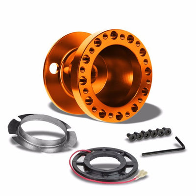 Orange Aluminum 6-Hole Steering Wheel Hub Adapter For 90-95 Accord CB CD/92-96 Prelude BA8/9-Interior-BuildFastCar