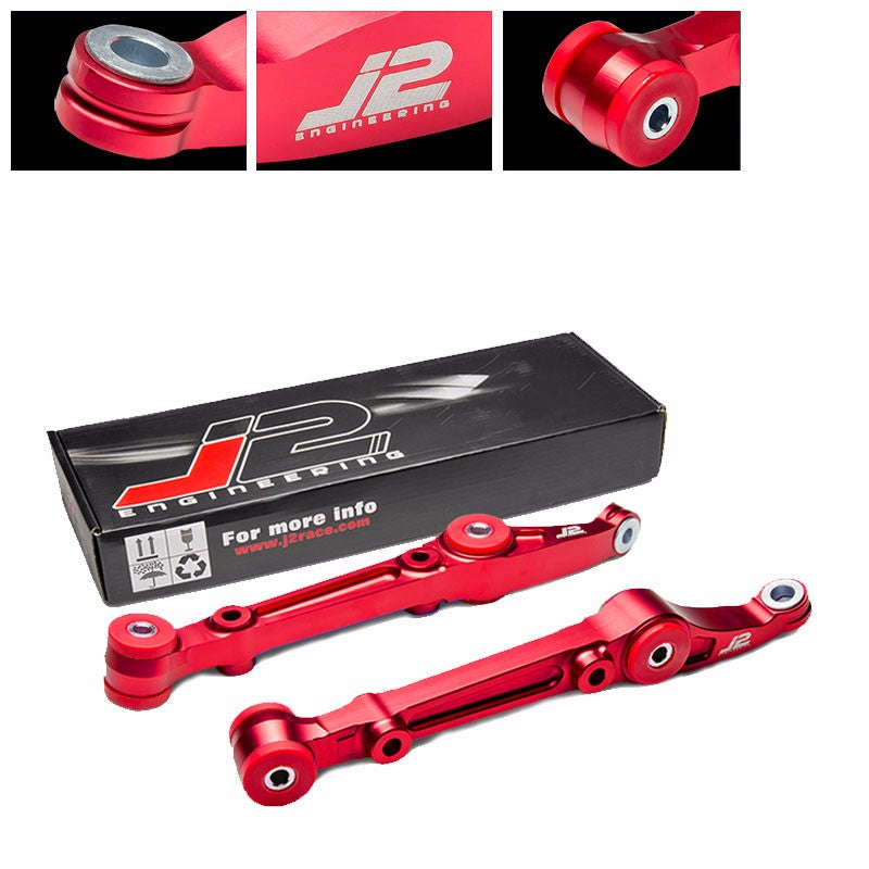 J2 Red Aluminum Front Lower Control Arm Bar Suspension For Honda 92-00 Civic-Suspension-BuildFastCar