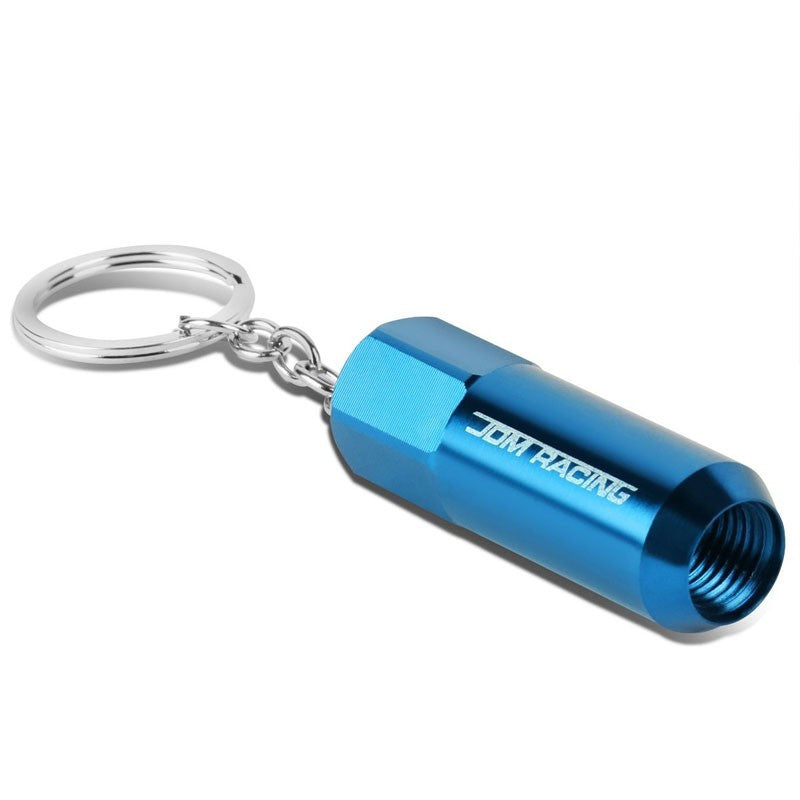 Light Blue Anodized Aluminum JDM Racing Acorn Style Wheel Lug Nut Lock Charm Key Chain Ring-Accessories-BuildFastCar