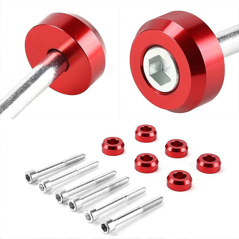 Red Aluminum Lower Control Arm Cover Washer+Metal Bolt For Honda 88-95 Civic EJ EG/Acura 94-01 DB DC-Suspension-BuildFastCar