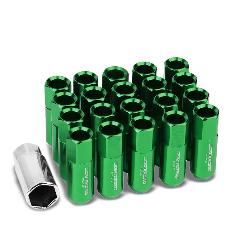 Green Aluminum M12x1.25 20MM Hexagon Open End Acorn Tuner 20x Conical Lug Nuts-Accessories-BuildFastCar