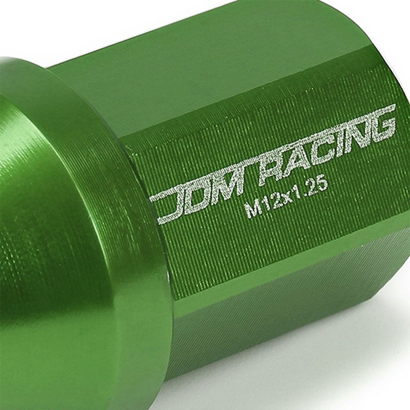 Green Aluminum M12x1.25 35MM Short Close End Acorn Tuner 20x Conical Lug Nuts-Accessories-BuildFastCar