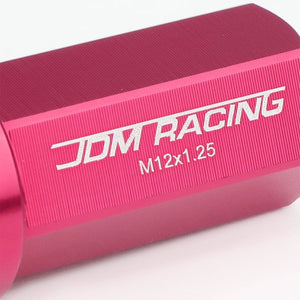 Pink Aluminum M12x1.25 50MM Hexagon Close End Acorn Tuner 20x Conical Lug Nuts-Accessories-BuildFastCar