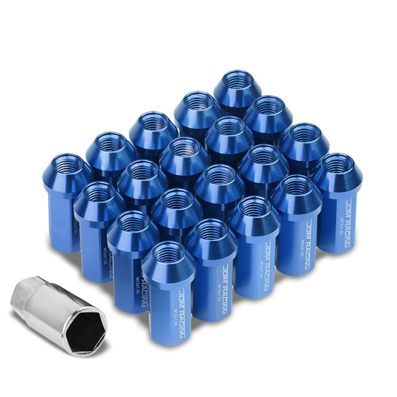 Blue Aluminum M12x1.50 50MM Hexagon Close End Acorn Tuner 20x Conical Lug Nuts-Accessories-BuildFastCar