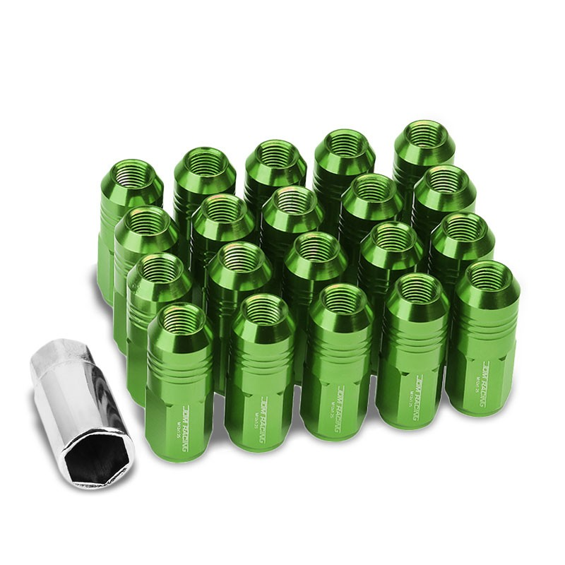 Green Aluminum M12x1.25 50MM Tall Close End Acorn Tuner 20x Conical Lug Nuts-Accessories-BuildFastCar