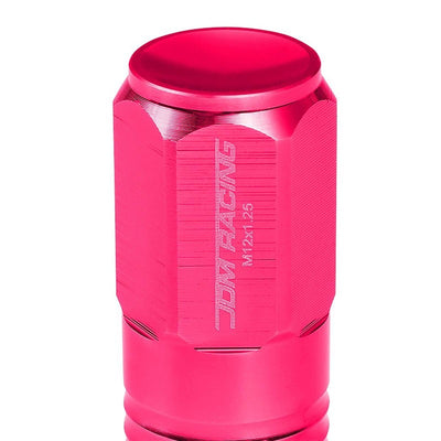 Pink Aluminum M12x1.25 50MM Tall Close End Acorn Tuner 20x Conical Lug Nuts-Accessories-BuildFastCar
