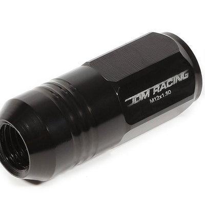 Black Aluminum M12x1.50 50MM Tall Close End Acorn Tuner 20x Conical Lug Nuts-Accessories-BuildFastCar