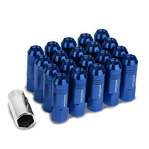 Blue Aluminum M12x1.25 60MM Hexagon Open End Acorn Tuner 20x Conical Lug Nuts-Accessories-BuildFastCar