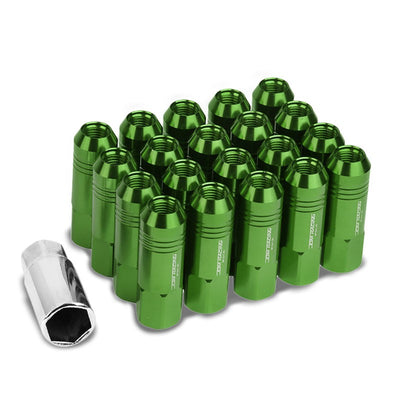 Green Aluminum M12x1.25 60MM Hexagon Open End Acorn Tuner 20x Conical Lug Nuts-Accessories-BuildFastCar