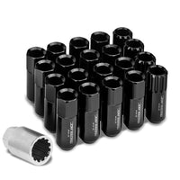 Black Aluminum M12x1.25 Conical Open End Acorn Tuner 16x Lug Nuts+4 Lock Nuts-Accessories-BuildFastCar