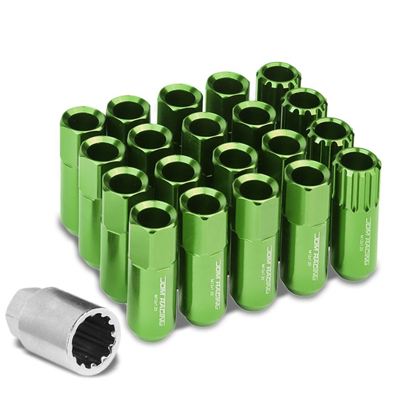 Green Aluminum M12x1.25 Conical Open End Acorn Tuner 16x Lug Nuts+4 Lock Nuts-Accessories-BuildFastCar