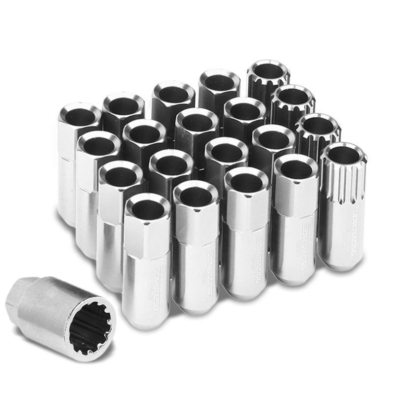 Silver Aluminum M12x1.25 Conical Open End Acorn Tuner 16x Lug Nuts+4 Lock Nuts-Accessories-BuildFastCar
