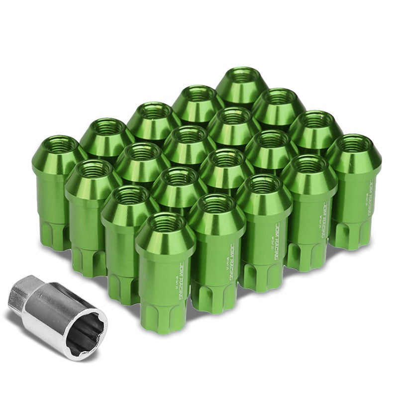 Green Aluminum M12x1.25 50MM Tall Open End Spline Acorn 20x Conical Lug Nuts-Accessories-BuildFastCar
