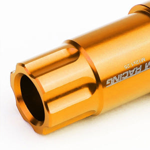 Orange Aluminum M12x1.25 50MM Tall Open End Spline Acorn 20x Conical Lug Nuts-Accessories-BuildFastCar