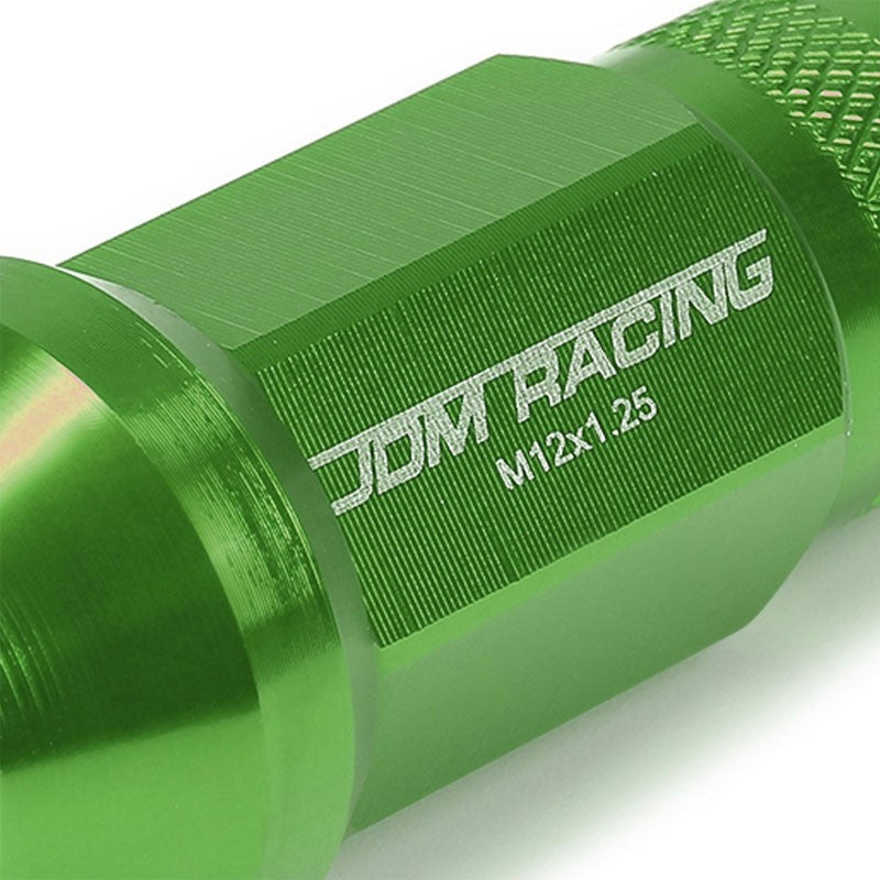 Green Aluminum M12x1.25 25MM OD Open Knurl Top Acorn Tuner 20x Conical Lug Nuts-Accessories-BuildFastCar