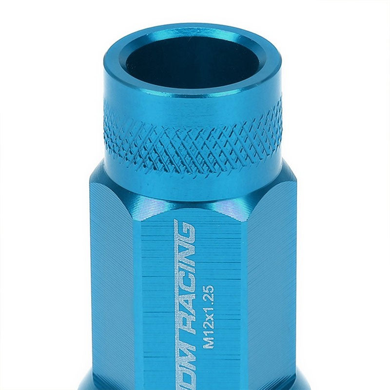 Light Blue Aluminum M12x1.25 25MM OD Open Knurl Acorn Tuner 20x Conical Lug Nuts-Accessories-BuildFastCar