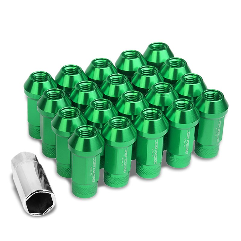 Green Aluminum M12x1.50 25MM OD Open Knurl Top Acorn Tuner 20x Conical Lug Nuts-Accessories-BuildFastCar