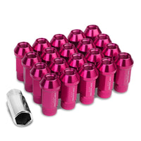 Pink Aluminum M12x1.50 25MM OD Open Knurl Top Acorn Tuner 20x Conical Lug Nuts-Accessories-BuildFastCar