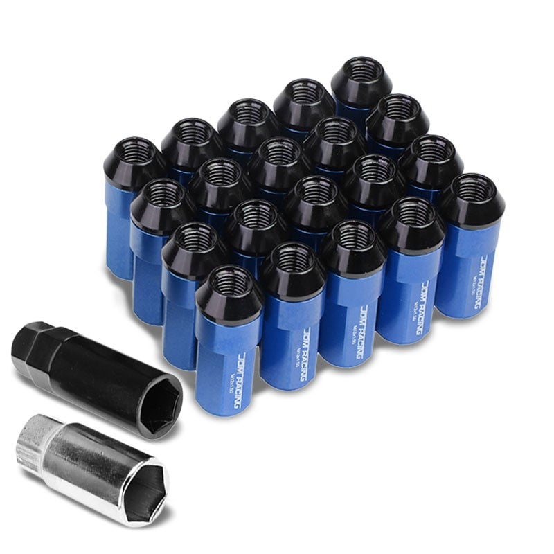 Blue M12x1.50 23MM OD Open/Close Dual Thread Acorn Tuner 20x Conical Lug Nuts-Accessories-BuildFastCar