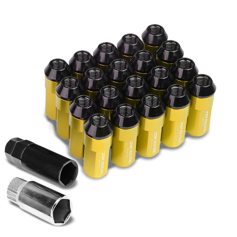Gold M12x1.50 23MM OD Open/Close Dual Thread Acorn Tuner 20x Conical Lug Nuts-Accessories-BuildFastCar
