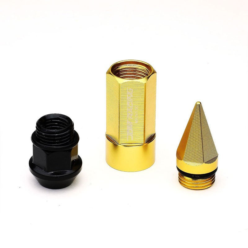 Gold M12x1.50 Dual Thread Acorn Tuner+Hexagon Spike Cap 20x Conical Lug Nuts-Accessories-BuildFastCar