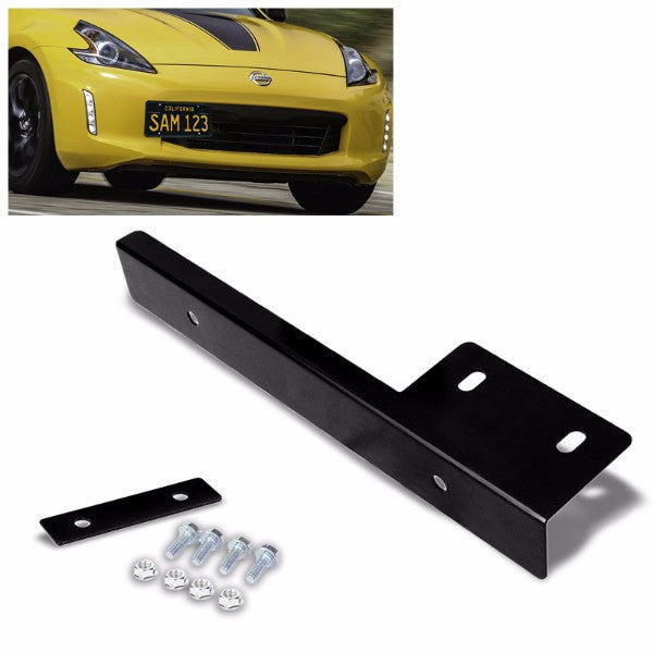 Universal Black Anodized Front Bumper Bolt-On License Plate Relocation Bracket Frame Mounting Kit-Exterior-BuildFastCar