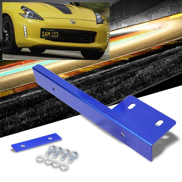 Universal Blue Anodized Front Bumper Bolt-On License Plate Relocation Bracket Frame Mounting Kit-Exterior-BuildFastCar