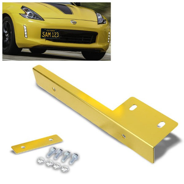 Universal Gold Anodized Front Bumper Bolt-On License Plate Relocation Bracket Frame Mounting Kit-Exterior-BuildFastCar