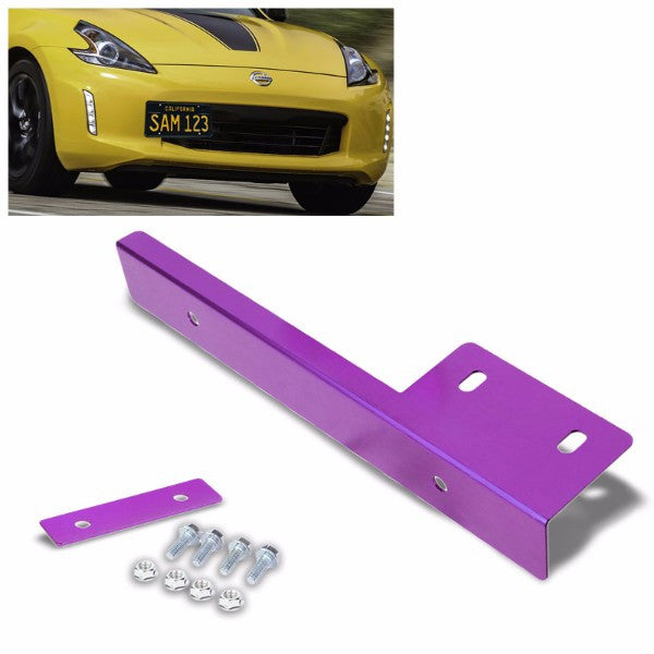 Universal Purple Anodized Front Bumper Bolt-On License Plate Relocation Bracket Frame Mounting Kit-Exterior-BuildFastCar