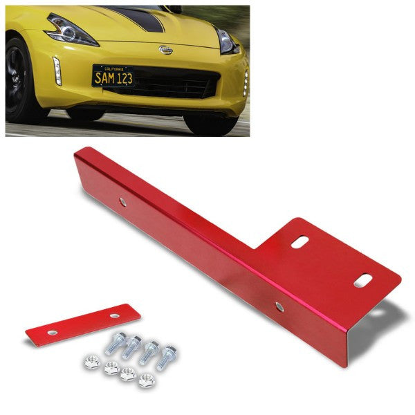 Universal Red Anodized Front Bumper Bolt-On License Plate Relocation Bracket Frame Mounting Kit-Exterior-BuildFastCar