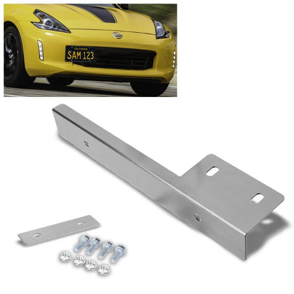 Universal Silver Anodized Front Bumper Bolt-On License Plate Relocation Bracket Frame Mounting Kit-Exterior-BuildFastCar