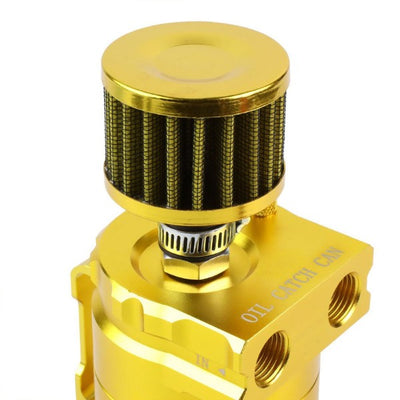 Universal Gold Cylinder Aluminum Baffled Oil Catch Tank/Can Reservoir+Filter-Performance-BuildFastCar