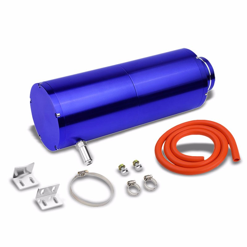 "Blue 8.5""x3""DIA Aluminum 3/8""Barb Coolant Recovery Overflow Oil Tank Can Bottle-Performance-BuildFastCar"