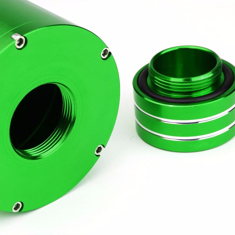 "Green 8.5""x3""DIA Aluminum 3/8""Barb Coolant Recovery Overflow Oil Tank Can Bottle-Performance-BuildFastCar"