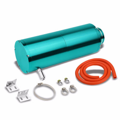 "Light Blue 8.5""x3""DIA Aluminum 3/8""Barb Coolant Recovery Overflow Oil Tank Can-Performance-BuildFastCar"