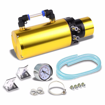 "Gold 7""x2.5""DIA Aluminum Round Breather Oil Catch Tank Can Bottle+Pressure Gauge-Performance-BuildFastCar"