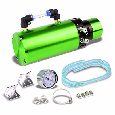 "Green 7""x2.5"" Aluminum Round Breather Oil Catch Tank Can Bottle+Pressure Gauge-Performance-BuildFastCar"