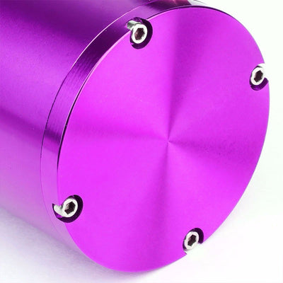 "Purple 7""x2.5""DIA Aluminum Round Breather Oil Catch Tank Can+Pressure Gauge-Performance-BuildFastCar"